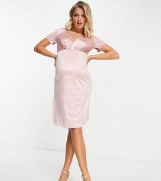 Светло-розовое платье с запахом Mamalicious-Розовый цвет Mama.Licious