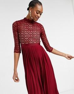 Темно-бордовое платье «2 в 1» из ажурного вязаного кружева с плиссированной юбкой Little Mistress-Красный