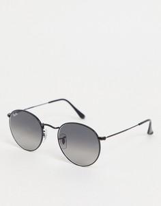 Мужские солнцезащитные очки в круглой оправе черного цвета Ray-Ban 0RB3447N-Черный