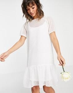 Белое свадебное платье миди с пышными рукавами, присборенной юбкой с оборками Vila-Белый