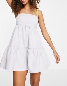 Сиреневое джинсовое платье мини с присборенной юбкой ASOS DESIGN-Фиолетовый цвет