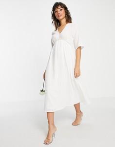 Белое свадебное платье миди с завышенной талией и V-образным вырезом Vila-Белый