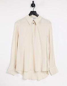Бежевая рубашка с акцентной пуговицей Selected Femme-Белый