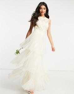Свадебное платье макси цвета слоновой кости с кружевным верхом и ярусной юбкой из тюля Y.A.S-Белый
