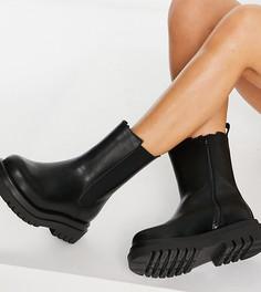 Черные массивные ботинки челси средней высоты для широкой стопы Truffle Collection Wide Fit-Черный