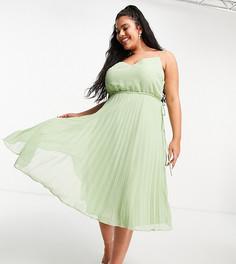 Шалфейно-зеленое платье миди на бретельках и со шнурком ASOS DESIGN Curve-Зеленый цвет