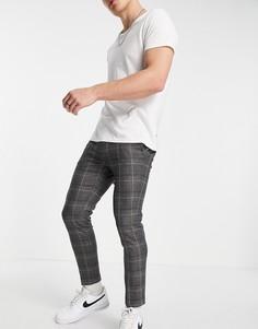 Серые строгие брюки в клетку River Island-Серый