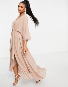 Платье лавандового цвета с запахом и рукавами-кимоно для подружки невесты TFNC Bridesmaid-Серый