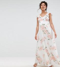 Платье макси с оборками на плечах и цветочным принтом Queen Bee-Мульти