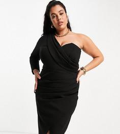 Черное платье миди на одно плечо с драпировкой и разрезом спереди Lavish Alice Plus-Черный