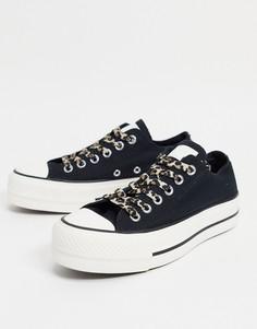 Черные кеды с леопардовыми шнурками Converse Chuck Taylor All Star Lift-Черный