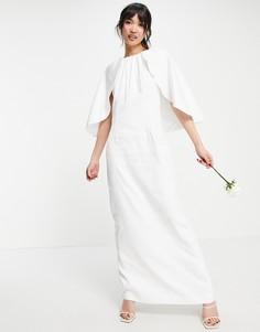 Белое свадебное платье макси с накидкой Y.A.S-Белый