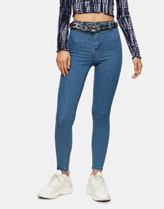 Сине-зеленые зауженные джинсы Topshop Joni-Зеленый цвет