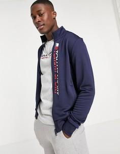 Спортивная куртка с вертикальным логотипом Tommy Hilfiger Sport-Темно-синий