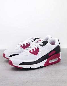 Кроссовки белого, бордового и черного цветов Nike Air Max 90-Белый