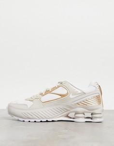 Кроссовки белого и песочного цвета Nike Shox Enigma 9000-Белый