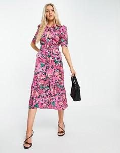 Платье миди ярко-розового цвета с пышными рукавами и цветочным принтом Hope & Ivy-Розовый цвет
