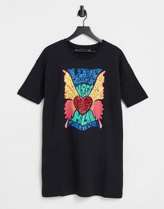 Черное платье-футболка с ярким логотипом в виде сердца Love Moschino-Черный