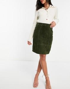 Зеленая юбка-карандаш из натуральной замши Vila-Зеленый цвет