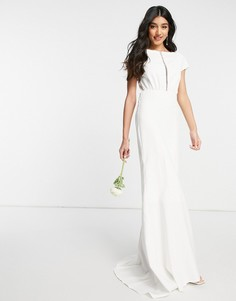 Белое свадебное платье макси с завышенной талией и вырезом спереди Y.A.S-Белый