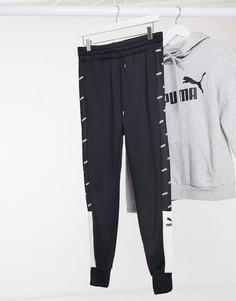 Черно-белые спортивные брюки с графическим принтом Puma-Черный