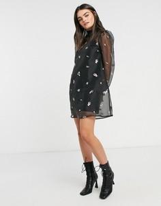 Черное свободное платье мини из органзы с высоким воротником и вышивкой ASOS DESIGN-Черный
