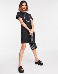 Черное платье с короткими рукавами и круглым логотипом Love Moschino-Черный