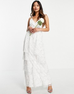 Свадебное платье на бретельках с присборенной ярусной юбкой и светлым цветочным принтом Vila-Белый