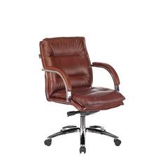 Кресло руководителя БЮРОКРАТ T-9927SL-LOW, на колесиках, кожа, светло-коричневый [t-9927sl-low/chok]