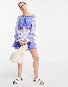 Синее свободное платье с цветочным принтом River Island-Голубой
