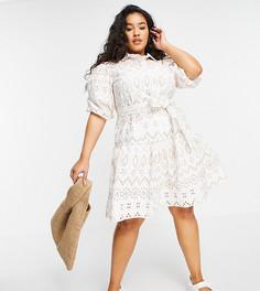 Бежевое платье-рубашка мини с объемными рукавами и вышивкой ришелье River Island Plus-Светло-бежевый