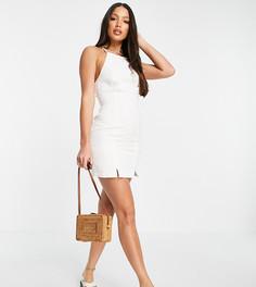 Белое платье-комбинация из мягкого денима с бретелью через шею ASOS DESIGN Tall-Белый