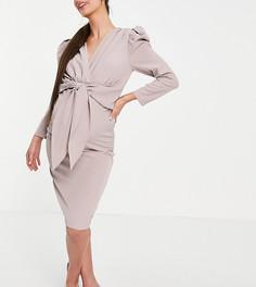 Серовато-бежевое платье миди с пышными плечами и завязкой спереди Little Mistress Maternity-Розовый цвет