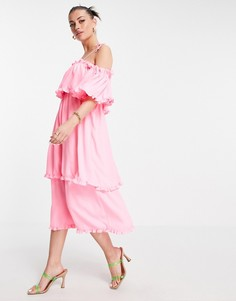 Розовое ярусное платье-комбинация макси с оборками River Island-Розовый цвет