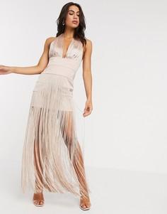 Платье макси с бахромой и бретелью вокруг шеи ASOS DESIGN-Розовый