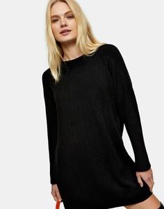 Трикотажное платье мини черного цвета с круглым вырезом Topshop-Черный цвет