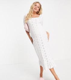 Белое платье миди с вышивкой ришелье, квадратным вырезом и пышными рукавами ASOS DESIGN Maternity-Белый