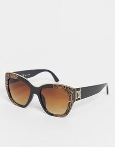 Квадратные солнцезащитные очки в крупной оправе с частичной змеиной отделкой River Island-Черный