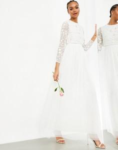 Свадебное платье с укороченным топом ASOS EDITION Fleur-Белый