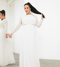 Свадебное платье с укороченным топом ASOS EDITION Curve Fleur-Белый