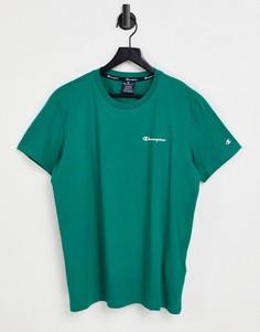 Зеленая футболка с небольшим текстовым логотипом на груди Champion-Зеленый цвет