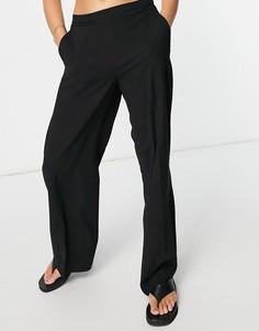 Черные брюки с широкими штанинами Selected Femme-Черный