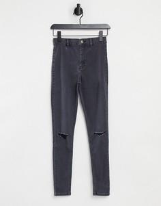 Черные выбеленные джинсы со рваной отделкой Topshop Joni-Черный цвет