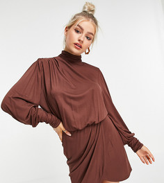 Коричневое платье мини с подплечниками и открытой спиной ASOS DESIGN Petite-Многоцветный
