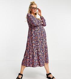 Фиолетовое свободное платье миди с цветочным принтом Pieces Maternity-Многоцветный