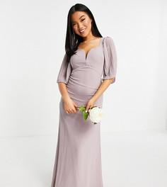 Сиреневое платье макси с вырезом в виде сердечка и расклешенными рукавами TFNC Petite Bridesmaid-Серый