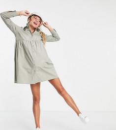 Хлопковое платье-рубашка мини цвета хаки с присборенной юбкой ASOS DESIGN Maternity-Зеленый цвет