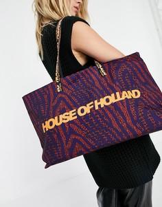 Большая сумка-тоут темно-синего цвета с оранжевым принтом логотипа House of Holland-Многоцветный