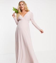 Серовато-бежевое платье макси для подружки невесты с запахом спереди и отделкой сзади TFNC Maternity-Розовый цвет