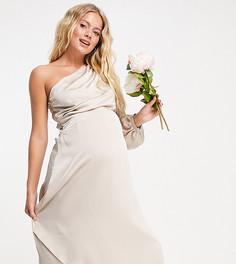 Светло-коричневое атласное платье макси на одно плечо с длинными рукавами TFNC Maternity Bridesmaid-Розовый цвет